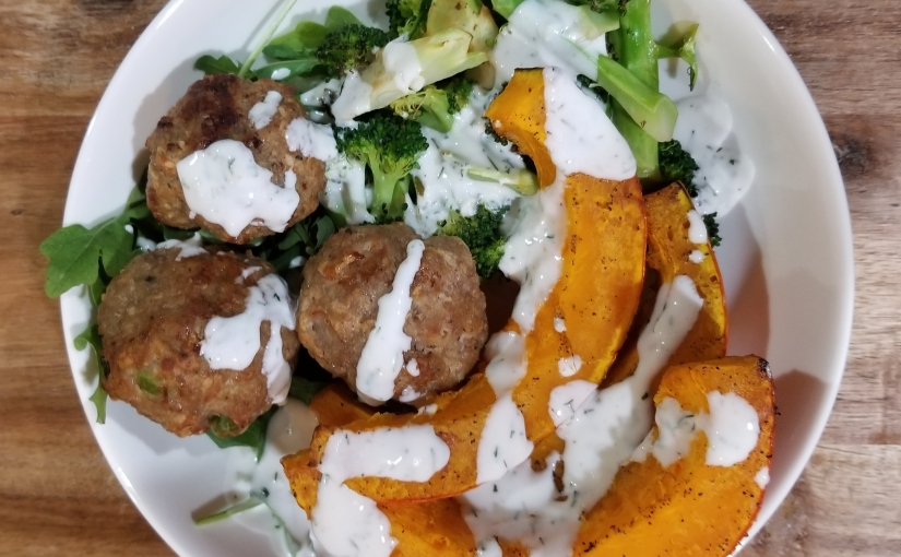 Turkey Meatballs With A Garlic Dill Yogurt Sauce